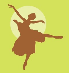 dancing ballerina silhouette light brown on green vector image vector image