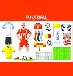 football sport equipment soccer game player vector image vector image