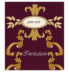 Gold damask ornament invitation vector