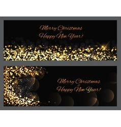 Gold sparkles banners abstract beauty merry vector