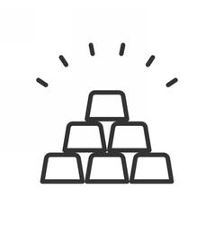 Golden bars outline icon vector