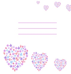 Greeting card with flowers hearts vector