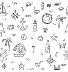 Hand drawn seamless nautical pattern nautical vector