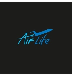 Isolated plane logo airplane side view vector