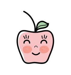 Kawaii happy and nice apple fruit vector