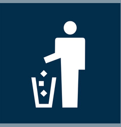 man throwing garbage icon vector image vector image