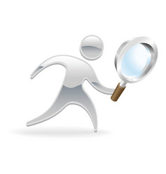 metallic character magnifying glass concept vector image