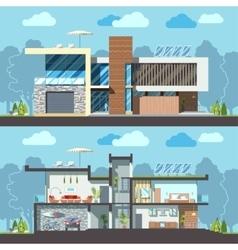 Modern house facade section vector image vector image
