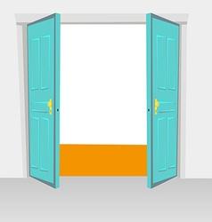 Opened interior doors hinged bivalve swings door vector