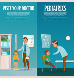 Pediatrician and kid vertical banners vector