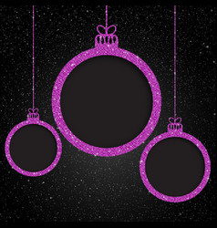 Pink sequin frame star sky christmas ball vector
