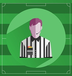 Referee in striped shirt icon vector