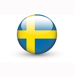 Round icon with national flag of Sweden vector image vector image