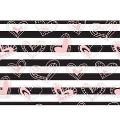 Seamless pattern with hand drawn ink doodle hearts vector image vector image