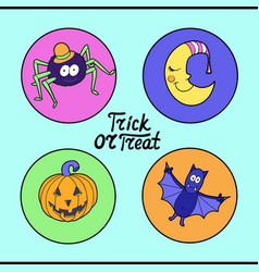 Set of halloween characters spider in hat vector