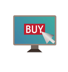 shopping on pc on white backgroundbuy on pc sign vector image