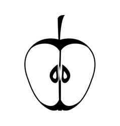 Silhouette monochrome with half an apple vector