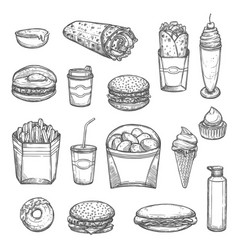 Sketch isolated fast food icons vector