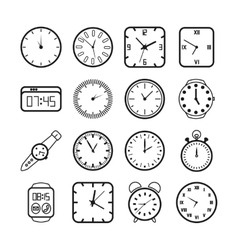 Time and clocks icons vector image vector image