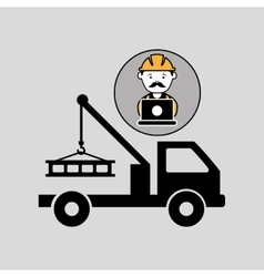 Under construction laptop worker tow car vector