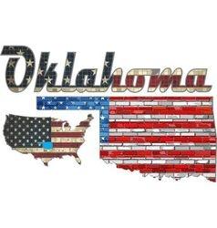 USA state of Oklahoma on a brick wall vector image