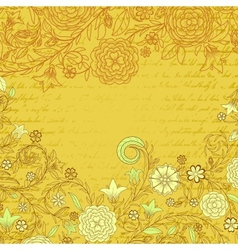 Vintage yellow grungy background with flowers and vector image vector image