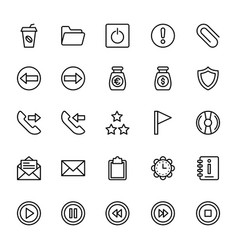 Web and mobile ui line icons 7 vector
