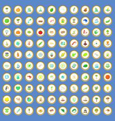 100 biology icons set cartoon vector image vector image