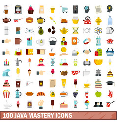 100 java mastery icons set flat style vector