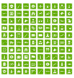 100 smuggling icons set grunge green vector