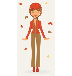 Stylish woman in autumn vector