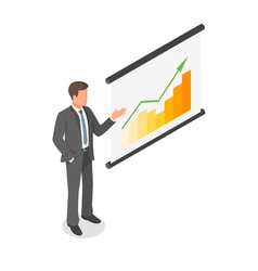 Isometric of a businessman showing presentation vector