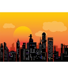 City sunset vector