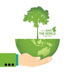 Save the world poster design template with hand vector