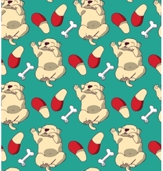 Puppy cute rest sleep relax seamless pattern vector