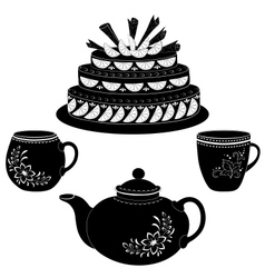 Cake teapot and cups contours vector