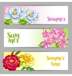 Banners set with china flowers bright buds of vector