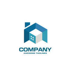 Building house and interior 3d style logo vector
