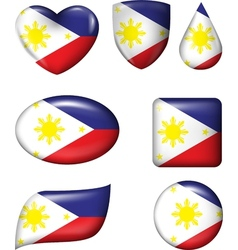 Philippines flag in various shape glossy button vector