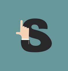 S letter businessman hand font it shows finger vector