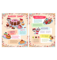 Poster of bakery sweet desserts and cakes vector