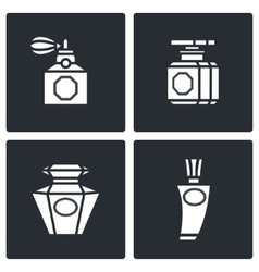 Retro perfume icons set vector