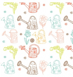 watering cans seamless pattern vector image