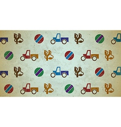 Seamless aged pattern with toys vector
