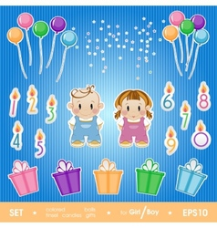 Gala set for birthday party for girl and boy a vector