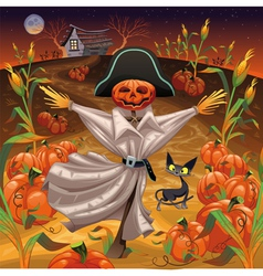 Scarecrow with pumpkins vector