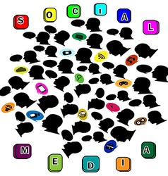 Silhouette head social networking color vector