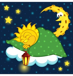 Sun sleeping on cloud vector