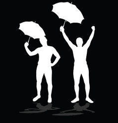Man silhouettes with umbrellas vector