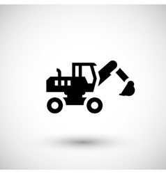 Wheel excavator icon vector